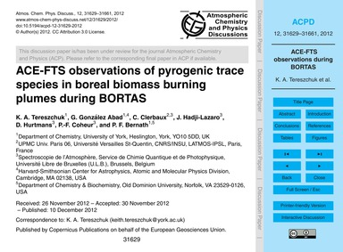 Ace-fts Observations of Pyrogenic Trace ... by Tereszchuk, K. A.