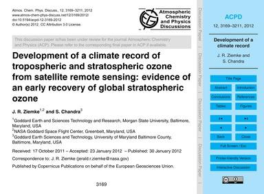Development of a Climate Record of Tropo... by Ziemke, J. R.