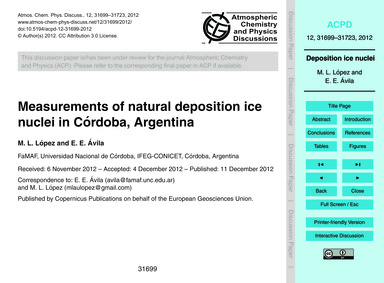 Measurements of Natural Deposition Ice N... by López, M. L.