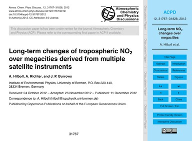 Long-term Changes of Tropospheric No2 Ov... by Hilboll, A.