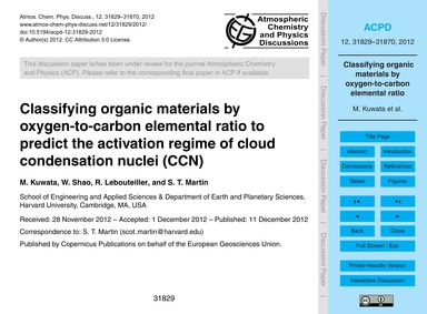 Classifying Organic Materials by Oxygen-... by Kuwata, M.