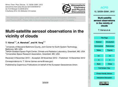 Multi-satellite Aerosol Observations in ... by Várnai, T.