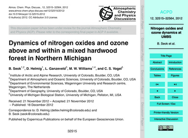 Dynamics of Nitrogen Oxides and Ozone Ab... by Seok, B.