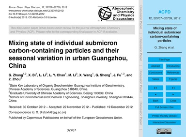 Mixing State of Individual Submicron Car... by Zhang, G.