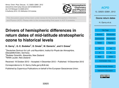 Drivers of Hemispheric Differences in Re... by Garny, H.