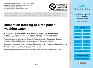 Immersion Freezing of Birch Pollen Washi... by Augustin, S.