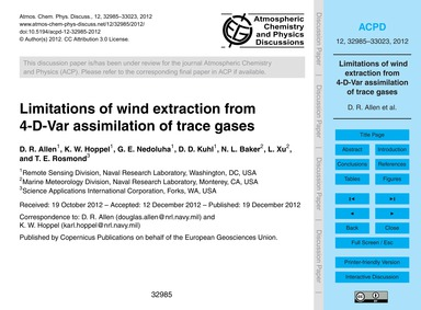 Limitations of Wind Extraction from 4-d-... by Allen, D. R.