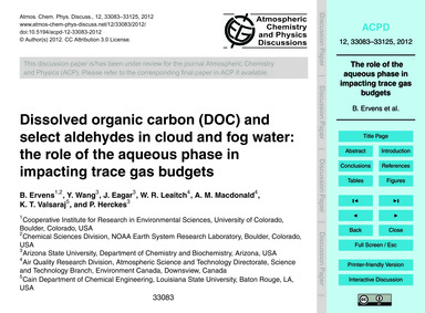 Dissolved Organic Carbon (Doc) and Selec... by Ervens, B.