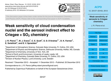 Weak Sensitivity of Cloud Condensation N... by Pierce, J. R.