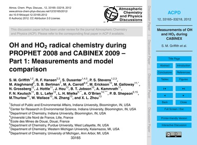Oh and Ho2 Radical Chemistry During Prop... by Griffith, S. M.