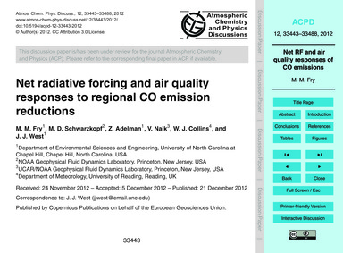Net Radiative Forcing and Air Quality Re... by Fry, M. M.