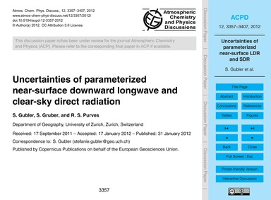 Uncertainties of Parameterized Near-surf... by Gubler, S.