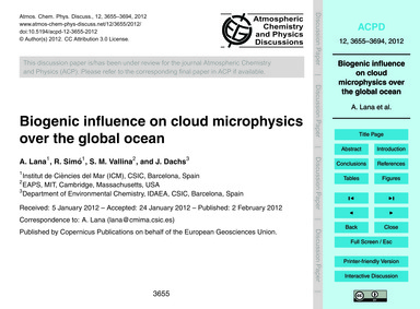 Biogenic Influence on Cloud Microphysics... by Lana, A.
