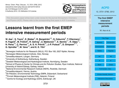 Lessons Learnt from the First Emep Inten... by Aas, W.