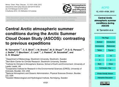 Central Arctic Atmospheric Summer Condit... by Tjernström, M.