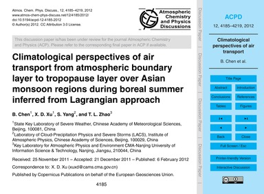 Climatological Perspectives of Air Trans... by Chen, B.