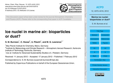 Ice Nuclei in Marine Air: Bioparticles o... by Burrows, S. M.