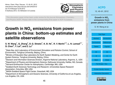 Growth in NoX Emissions from Power Plant... by Wang, S. W.