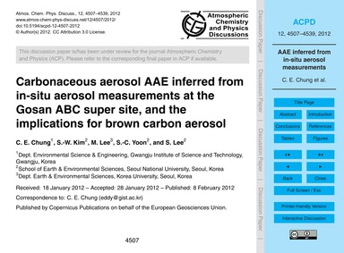 Carbonaceous Aerosol Aae Inferred from I... by Chung, C. E.