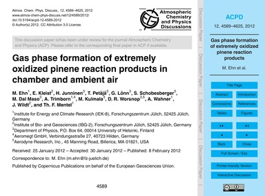 Gas Phase Formation of Extremely Oxidize... by Ehn, M.