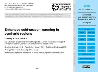 Enhanced Cold-season Warming in Semi-ari... by Huang, J.