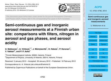 Semi-continuous Gas and Inorganic Aeroso... by Makkonen, U.