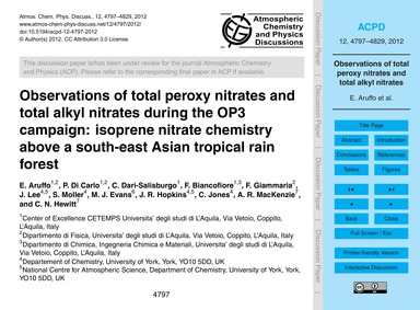 Observations of Total Peroxy Nitrates an... by Aruffo, E.