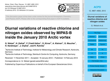 Diurnal Variations of Reactive Chlorine ... by Wetzel, G.