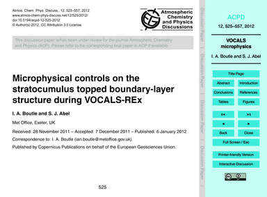 Microphysical Controls on the Stratocumu... by Boutle, I. A.