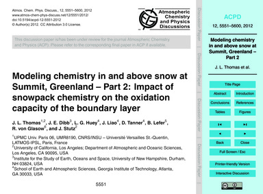 Modeling Chemistry in and Above Snow at ... by Thomas, J. L.