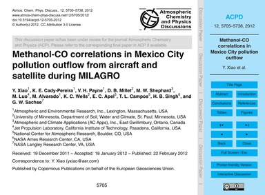 Methanol-co Correlations in Mexico City ... by Xiao, Y.