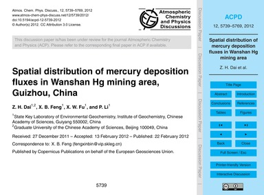 Spatial Distribution of Mercury Depositi... by Dai, Z. H.