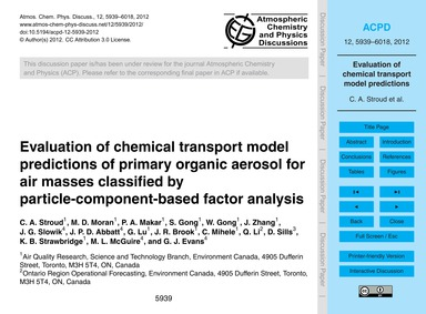 Evaluation of Chemical Transport Model P... by Stroud, C. A.