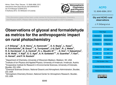 Observations of Glyoxal and Formaldehyde... by Digangi, J. P.