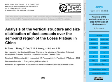 Analysis of the Vertical Structure and S... by Zhou, B.