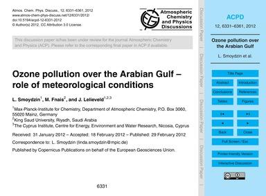 Ozone Pollution Over the Arabian Gulf – ... by Smoydzin, L.