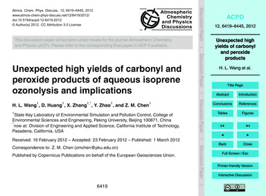 Unexpected High Yields of Carbonyl and P... by Wang, H. L.