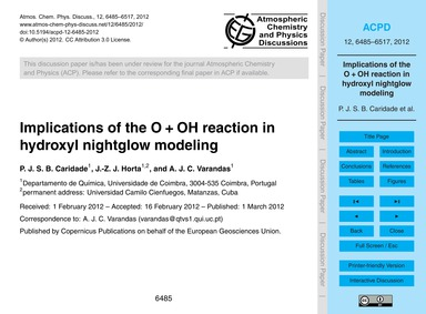 Implications of the O + Oh Reaction in H... by Caridade, P. J. S. B.