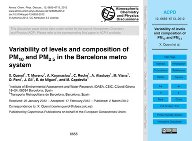 Variability of Levels and Composition of... by Querol, X.