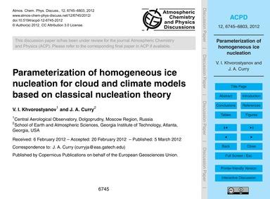 Parameterization of Homogeneous Ice Nucl... by Khvorostyanov, V. I.