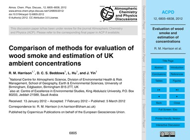 Comparison of Methods for Evaluation of ... by Harrison, R. M.