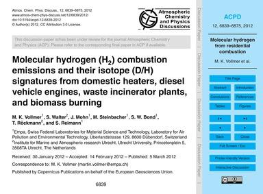 Molecular Hydrogen (H2) Combustion Emiss... by Vollmer, M. K.