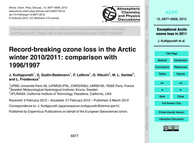 Record-breaking Ozone Loss in the Arctic... by Kuttippurath, J.