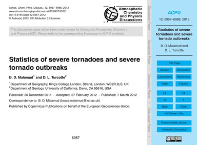 Statistics of Severe Tornadoes and Sever... by Malamud, B. D.