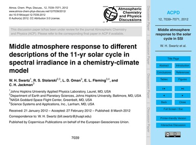 Middle Atmosphere Response to Different ... by Swartz, W. H.