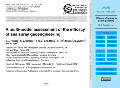 A Multi-model Assessment of the Efficacy... by Pringle, K. J.