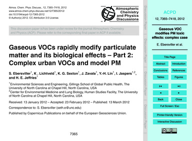 Gaseous Vocs Rapidly Modify Particulate ... by Ebersviller, S.