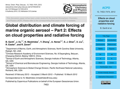Global Distribution and Climate Forcing ... by Gantt, B.