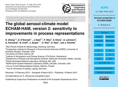 The Global Aerosol-climate Model Echam-h... by Zhang, K.