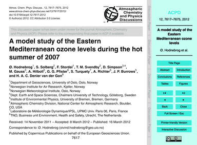 A Model Study of the Eastern Mediterrane... by Hodnebrog, Ø.